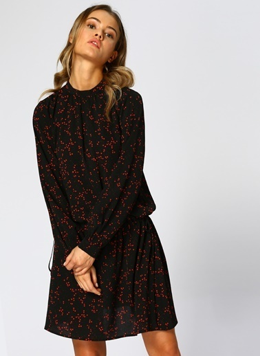 Black Pepper Uzun Kollu Desenli Elbise Renkli